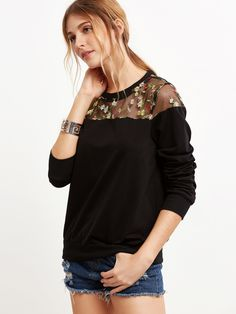 Black Embroidered Mesh Yoke Sweatshirt -SheIn(Sheinside)