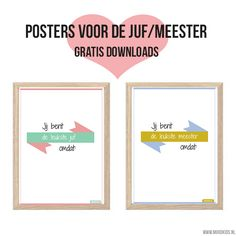 Met deze poster voor de juf of meester heb je een leuk, uniek en persoonlijk cadeau. Print de poster gratis uit. Laat je kind er wat op schrijven en klaar! #juf