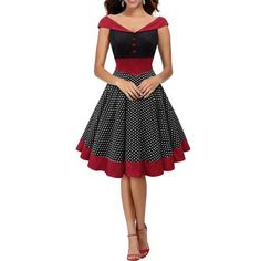 2017 Vintage Women Dress Dot Retro Swing  Pinup 50s 60s Christmas Party Evening Housewife Fashion Red Ladies Spring Summer Autumn Winter Ball Dresses Vestidos Vintage, Vintage Dresses 50s, Vintage Outfits, Rockabilly Dresses, 50s Rockabilly, Retro Dress, Rockabilly Fashion, Pretty Outfits, Pretty Dresses