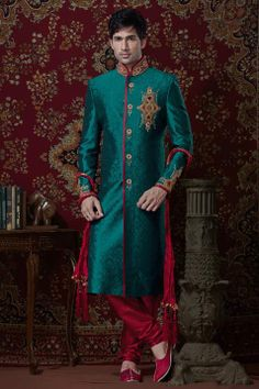 Teal Green Brocade Readymade #Sherwani @ $278.41