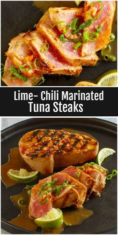 Delicious recipe for Lime Chili Marinated Tuna Steaks. Great recipe using fresh tuna! Nutritional information and Weight Watchers SmartPoints included. Tuna Marinade, Grilled Tuna Steaks, Ahi Tuna Steak Recipe, Tuna Meat, Fresh Tuna Recipes, Healthy Recipes, Sushi Recipes, Gluten Free Recipes, Seafood