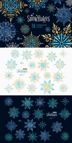This set of 54 high quality separate hand painted Snowflakes in blue, gold, black and white colors. Perfect graphic for Christmas projects, winter holidays, DIY, invitations, greeting cards, photos, posters, quotes and more.