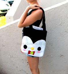 Penguin Tote Bag  Cute Tote  Kawaii Bag  Halloween by HappyCosmos, $21.25