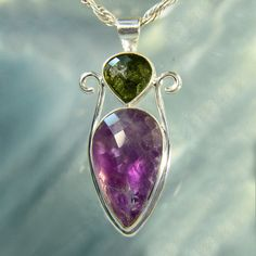 Faceted Amethyst & Moldavite Artisan Pendant by ArkadianCollection