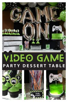 Totally awesome video game birthday dessert table ideas Game on gamers Dessert Table Birthday, Birthday Party Desserts, 13th Birthday Parties, Birthday Games, Birthday Party Decorations, 9th Birthday, Xbox Party, Game Truck Party, Party Themes For Boys