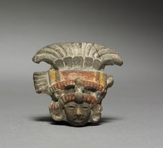 Figurine Head Fragment, 350-750 Central Mexico, Teotihuacán style, 1-750