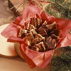 This toffee candy is filled with almonds and covered with chocolate.
