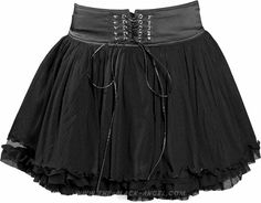 Short black gothic skirt for women, with satin waistline and lacing, by Queen of Darkness.