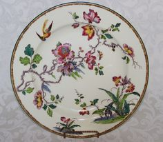 Platter, ca. 1908-1923  Swallow pattern, porcelain with over glaze enamel. Made in England by Wedgwood. Features Nature Motifs common in Japanese woodblock prints.
