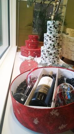 Hat Box converted to hold a bottle of wine/champagne and two glasses. Handmade at Sarah's Hat Boxes in NH. Great for wedding gifts!!