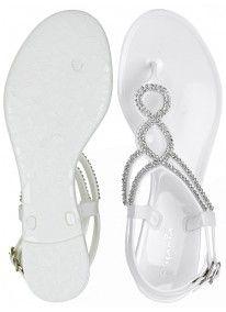 Diva   Diamante Jelly Sandals White