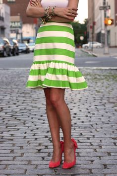 lime stripes with coral suede shoes.