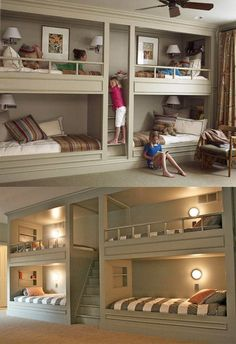 Lots of bunk beds. I love the idea of bunks - maybe because I had bunk beds when I was younger, maybe because of Red Dwarf. Love the central stairway/ladder. Cool Girl Bedrooms, Kids Bedroom, Kids Rooms, Bedroom Ideas, Childrens Bedroom, Extra Bedroom, Shared Bedrooms, Bedroom Decor, Bedroom Setup