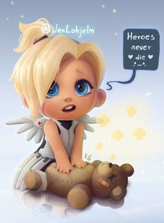 Well this pic of Baby Mercy is just adorable Overwatch Comic, Chibi Overwatch, Overwatch Drawings, Overwatch Memes, Overwatch Fan Art, Overwatch Genji, Video Game Anime, Video Game Art, Overwatch Wallpapers