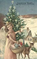 Vintage angel with Christmas tree and snow-covered town in the background