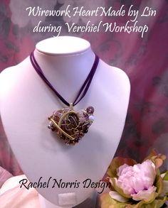 Wirework (Rachel Norris Design) made by Lin during Verchiel Beads and Jewellery workshop. www.verchieljewellery.co.uk