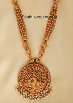 Graceful Gold Beads Necklace with Designer Pendant - Indian Jewellery Designs Antic Jewellery, Gold Jewellery Design, Temple Jewellery, Gold Jewelry, Peacock Jewelry, Gold Necklaces, Antique Jewelry, Latest Jewellery, Necklaces