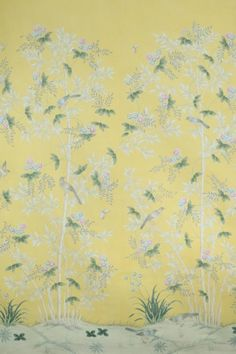 Scenic floral hand-painted Chinese paper from Gracie Studio in lemon yellow. Gracie Wallpaper, Chinese Paper, House Rooms, Living Rooms, Wall Finishes, Lemon Yellow, Chinoiserie, Hand Painted, Murals