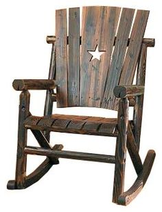 Rustic Log Wooden Rocking Chair On BourbonandBoots.com #rockingchair
