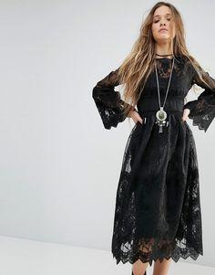 Image 1 ofBoohoo Lace Sleeve Smock Dress