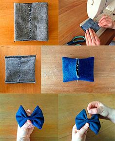 Recycle Jeans Diy Headband Just For Fun Shibori Fur Babies Hair Bows Venezuela Sewing Patterns Teal Tie Making Hair Bows, Diy Hair Bows, Fabric Bows, Fabric Flowers, Baby Bows, Baby Headbands, Sewing Crafts, Sewing Projects, Denim Crafts