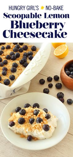 Scoopable Lemon Blueberry Cheesecake, Desserts, Make low-calorie cheesecake without even turning on the oven with my new no-bake recipe! Low Calorie Recipes, Ww Recipes, Gourmet Recipes, Baking Recipes, Low Calorie Sweets, Low Calorie Cookies, Low Calorie Cake, Low Calorie Dinners, Low Calorie Diet