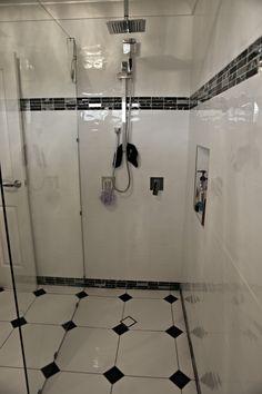 Black & White Bathroom AFTER Black White Bathrooms, Track Lighting, Bathroom Ideas, Bathtub, Ceiling Lights, Decorating, Black And White, Home Decor, Standing Bath