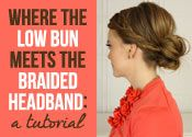 A Low Bun Meets The Braided Headband: A Tutorial