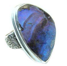 $51.25 Amazing+Australian+Boulder+Opal+Sterling+Silver+Ring+s.+9 at www.SilverRushStyle.com #ring #handmade #jewelry #silver #opal