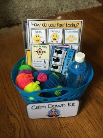 Jackson's Kinders: Calm Down Kit – Tracy King Mrs. Jackson's Kinders: Calm Down Kit Mrs. Jackson's Kinders: Calm Down Kit Classroom Behavior, Autism Classroom, Preschool Classroom Setup, Calm Classroom, Special Education Classroom, Future Classroom, Classroom Ideas, Relation D Aide, Calm Down Kit