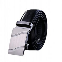 Soft Direct Men's Leather Belt Sliding Buckle 35mm Ratchet Belt Black Style 1