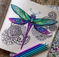 Dragonfly meets Zentangle - love this