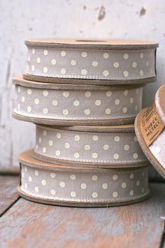 grey and white polka dots ribbons Textiles, Make Do And Mend, Lace Ribbon, Taupe Color, Shades Of Grey, Twine, Grosgrain, Grey And White, Decorative Boxes