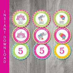 INSTANT DOWNLOAD, Circus Cupcake Toppers, Party Circles, Carnival Birthday, Editable, Personalized Tags, Digital PDF File, Party Printable by CharliesPrintables on Etsy