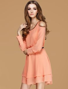 Orange Off the Shoulder Bead Chiffon Dress such a great buy!