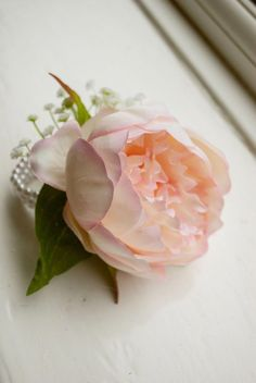 Made from an artificial peony, gypsophilia and greenery. Designed on pearl wrist bracelet. Mother Of Bride Corsage, Wrist Corsage Wedding, Pink Silk, Blush Pink, Pink Peonies, Peony, Artificial Peonies, Bridezilla, Floral Crown