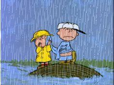 Rain; baseball; Peanuts; Linus; Charlie Brown...