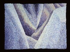 Elizabeth Tuttle, Draped Surface No. 1; Crocheted cotton sewing thread 9 x 12 inches, 1980 to 1983 #neutralcolor #blues #blue #cooltone #crochet #art #fineart #fiberart #fibreart #textile #textileart #domesticlife #domesticart #conceptualart #design #opticalillusion Cool Tones, Conceptual Art, Optical Illusions, Textile Art, Neutral Colors, Pattern Design, Blues, Textiles, Sewing