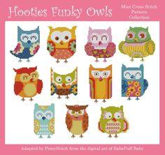 Funky Owls cross stitch projects, easy to stitch fun stitch project.