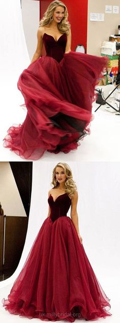 Princess Prom Dresses Burgundy, Long Prom Dresses V-neck, Organza  Ruffles Formal Evening Dresses Modest