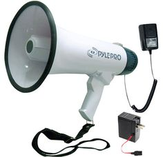 White Pyle Audio Inc PMP37LED 30 W Amplifier Bullhorn With Siren & Led Lights Pylehome Professional Megaphone