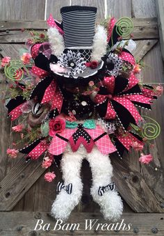 Easter Wreath Mad Hatter Wreath Alice In by BaBamWreaths on Etsy