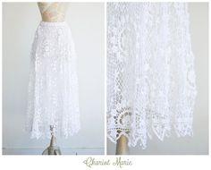 Vintage Crochet Hippie Skirt  Bohemian White Maxi by ChariotMarie