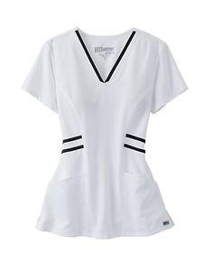 Scrubs and Beyond Grey's Anatomy Marquis Contrast Trim V-neck Scrub Tops White Scrub Tops, White Scrubs, Nursing Wear, Nursing Clothes, Nursing Dress, Spa Uniform, Scrubs Uniform, Doctor Scrubs, Scrubs Outfit