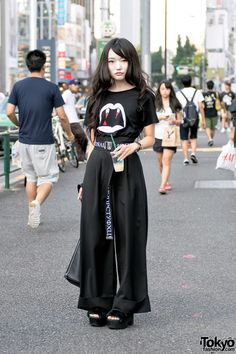 "tokyo-fashion: "" Haruka on the street in Harajuku today wearing a Saint Laurent vampire shirt, G. belt with Emoda wide leg pants, Pameo Pose platform sandals and vintage handbag. Full Look "" Japan Street Fashion, Tokyo Fashion, Harajuku Fashion, Japan Fashion Casual, Mode Harajuku, Harajuku Girls, Harajuku Style, Mode Grunge, Hipster Grunge"