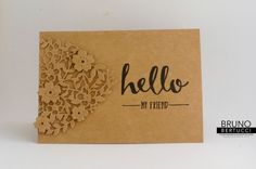 handmade greeting card from stampinbruno: Hello  ... kraft on kraft ... luv how he used the die cut lacy heart as a design element ... great look! ... Stampin' Up!