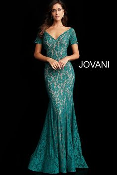 Jovani 66730 heat set stone embellished lace prom dress with short sleeve fitted bodice, v-neckline and closed back with a zipper, floor-length fitted skirt with a fla end. - Prom Dresses - Jovani 66730 heat set stone embellished lace prom dress with shor Short Sleeve Prom Dresses, Grad Dresses Short, Short Lace Dress, Plus Size Prom Dresses, Dresses For Teens, Short Sleeves, Sleeve Dresses, Long Dresses, Formal Dresses