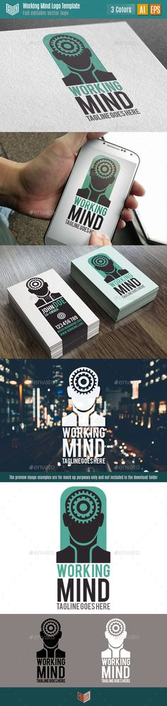 Working Mind Logo is a modern and stylized logo template, presents a stylized shape of a head with a series of mechanisms and gears representand brain function. It can be used for multiple purposes and different types of businesses, studies, clans, startups, branding, etc.