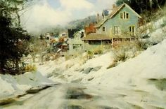 """Richard Schmid, """"Telluride"""".  This painting is really comforting to me.  I feel like I've been there in that scene, countless times.  Looks very Pennsylvania."""