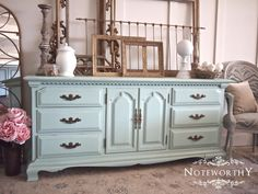 Robins Egg Blue Buffet, Light Blue, Turquoise, Dresser, Media Console, Nursery, Changing Table, Dining Room, Custom Painted Furniture, Noteworthy Home
